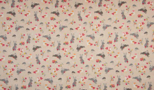 tissu coton lapins & oiseaux OEKO TEX