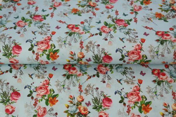 tissu coton roses romantiques OEKO TEX