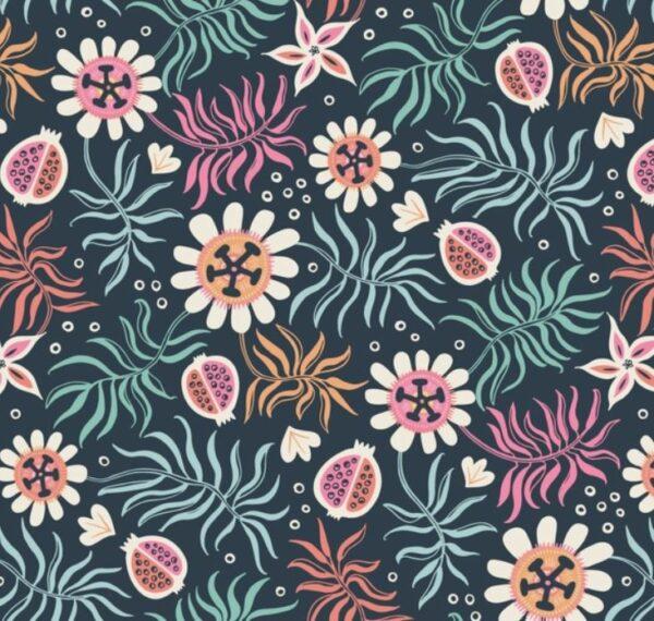 "tissu coton ""tropical garden"" jardin d'Eden BIO"