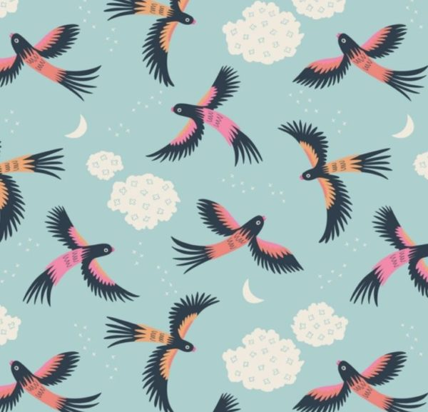 "tissu coton ""tropical garden"" vol d'oiseaux BIO"
