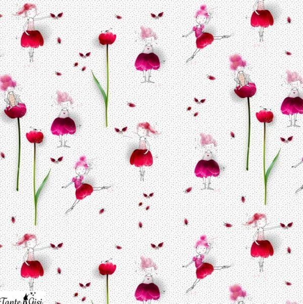 """tissu jersey """"danseuses Tulipe"""" BIO"""