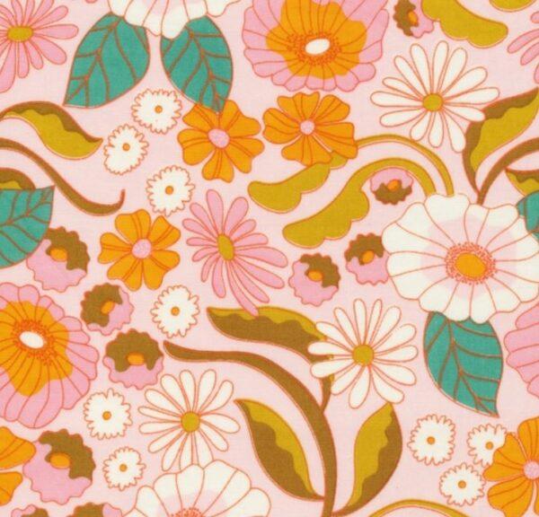 """tissu coton """"good vibrations"""" fleurs rétro BIO"""