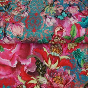 tissu jersey digital fleurs chinoises OEKO TEX