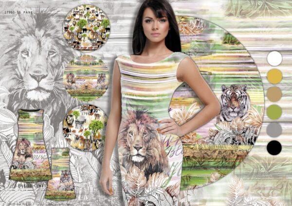 tissu jersey panneau LIONS black & white OEKO TEX