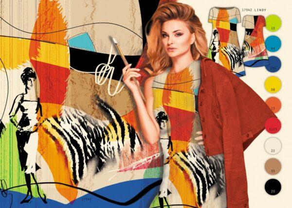 tissu jersey panneau femme abstrait OEKO TEX