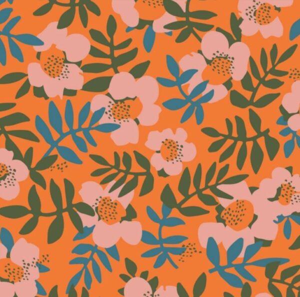 """tissu viscose """"cloud"""" fleurs oranges"""