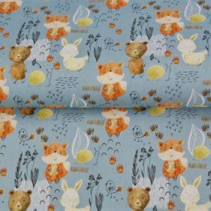 tissu coton renards & ours OEKO TEX