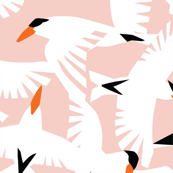 """tissu canvas """"wildlife"""" oiseaux BIO"""