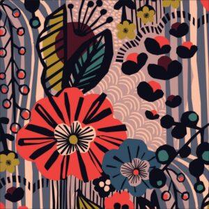 "tissu canvas 'under one sky"" fleurs de nuit BIO"