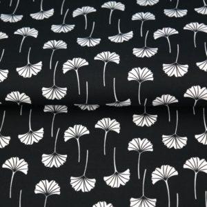 tissu coton fleurs éventails noir & blanc OEKO TEX