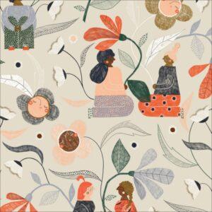 """tissu coton """"Bloom together"""" femmes & fleurs BIO"""