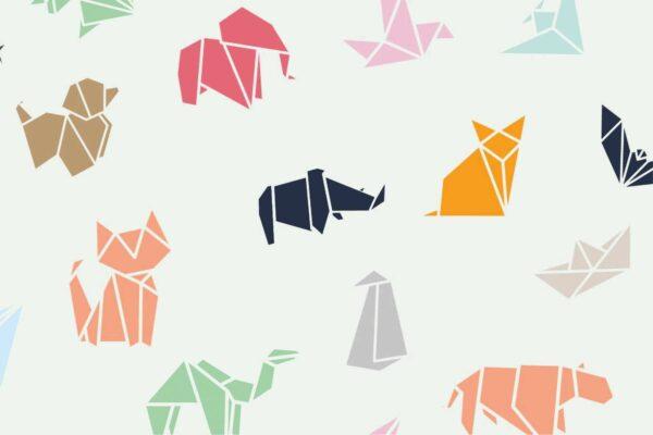 "tissu jersey ""animaux origami"" OEKO TEX"