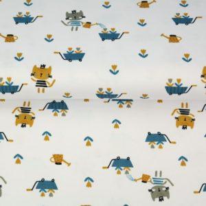 "tissu jersey ""les petis chats au jardin"" OEKO TEX"