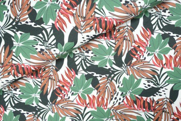 """tissu jersey """"Feuilles de jungle"""" OEKO TEX"""