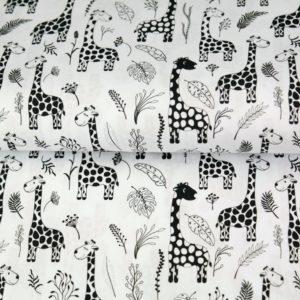 tissu jersey girafes black & white OEKO TEX