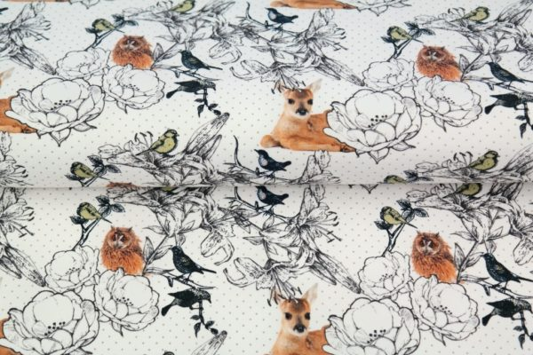 tissu french terry Chouettes& faons OEKO TEX