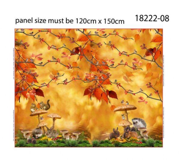 "Panneau jersey digital ""Animaux d'automne"" 120 cm x 150 cm OEKO TEX"