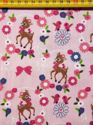 tissu coton bambis roses OEKO TEX