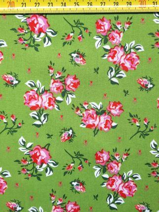 tissu coton Romantique vert OEKO TEX