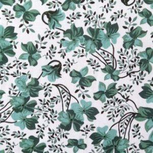 tissu coton fleurs vertes OEKO TEX