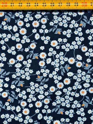 tissu coton marguerites bleues OEKO TEX