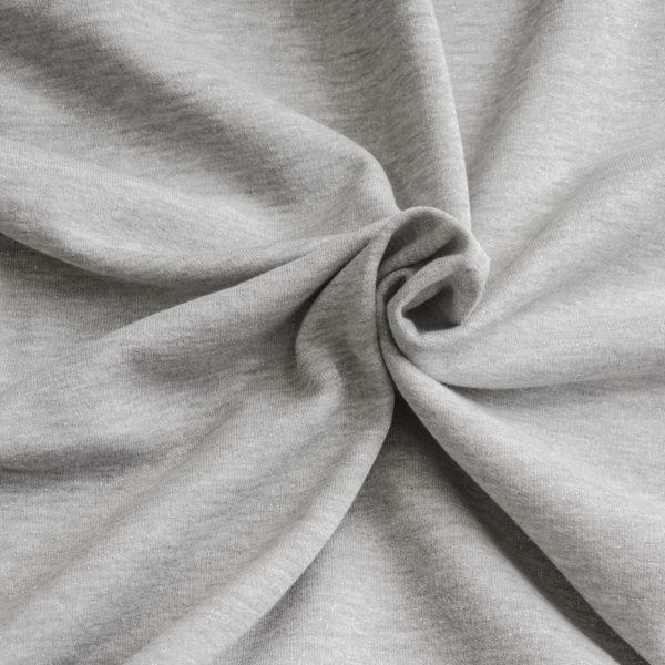 tissu sweat lurex gris clair OEKO TEX